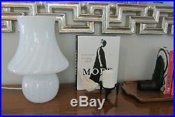 Vintage Vetri Murano Italian Art Glass White Gray Swirl Mushroom Table Lamp 14