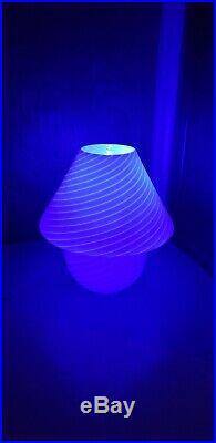 Vintage Vetri Murano Mushroom Table Lamp Mid Century MCM 13x14 White