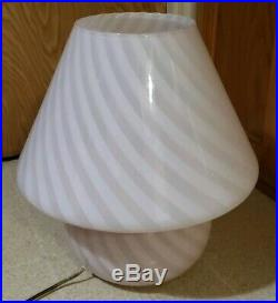 Vintage Vetri Murano Mushroom Table Lamp Mid Century MCM 14x15