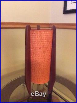 Vintage Walnut Table Lamp Rocket Design Danish Modern Mid Century Modeline 60s