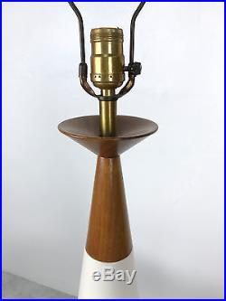 Vintage White Ceramic Teak Cone Table Lamp Mid Century Modern Michael Lax Era
