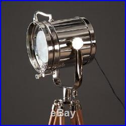 Vintage industrial Designers Chrome Nautical Spotlight Tripod Floor SeL BIG LAMP