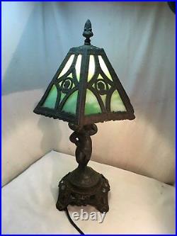 Vintage lead & Slag Glass Lamp Art Nouveau Tiffany Style Table Light Cherub