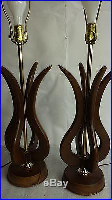 Vintage matched pair Danish Modern wood table lamps Mid Century Eames Open Tulip