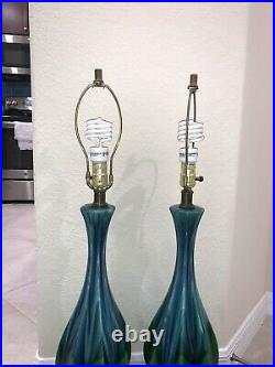 Vintage pair of drip GLAZED Blue Green TABLE LAMPS, Haeger mint condition