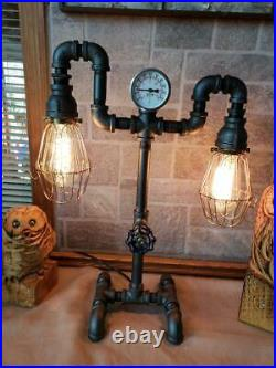 Vintage steampunk Industrial Pipe Retro reading table, desk lamp
