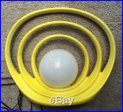 Vtg 1970s 1980s Yellow 3 Ceramic Arches Art Deco Lamp RARE Sunrise Sunset