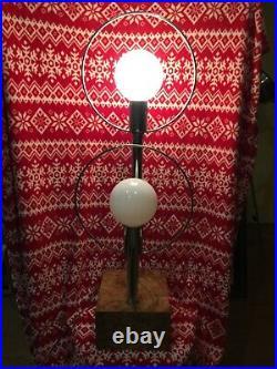 Vtg. 70's Mid Century Chrome Saturn 2 Orb Eyeball Table Lamp Sputnik Globe Ball