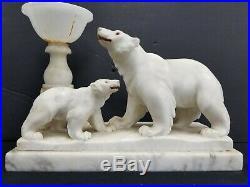 Vtg Art Deco Antique Polar Bear Alabaster Marble Table lamp 2 Bears Carved 1930