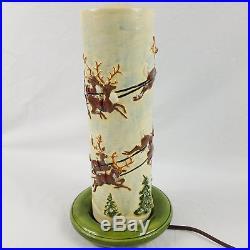 Vtg Atlantic Mold Christmas Santa Flickering Electric Candle Ceramic Table Lamp