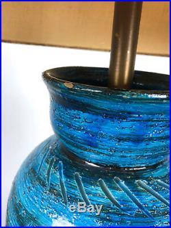 Vtg Bitossi Aldo Londi Rimini Blue Pottery Table Lamp Mid Century Modern Italian