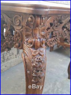 Vtg Carved Ornate Figural ANGEL MINERVA LADY Walnut Lamp End Side Console Table
