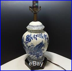 Vtg Frederick Cooper Chinoiserie Blue And White Floral Porcelain Table Lamp