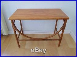 Vtg Heywood Wakefield Mid Century Ashcraft Tiki Bamboo Rattan End Lamp Table