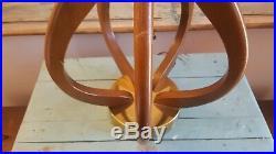 Vtg Large MCM Danish Modern Eames Modeline Walnut Table Lamp (3 way socket)