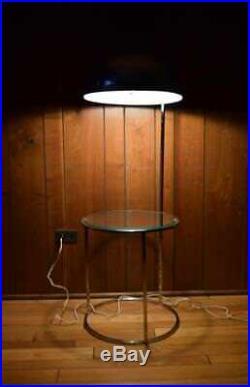 Vtg MCM 1970's Chrome Dome Floor Lamp with Table Panton Era
