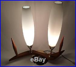 Vtg MCM Table Lamp Danish Modern Desk Light Atomic Biomorphic Wood Boomerang Old