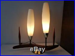 Vtg MCM Table Z Majestic Lamp 2 Shade Boomerang Danish Teak Atomic 1950 Eames