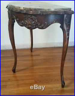Vtg Marble Top Walnut Carved French Style Entryway Narrow Half Round Lamp Table