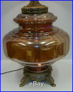 Vtg Mid Century Hollywood Regency Large Iridescent Amber Glass Prism Table Lamp