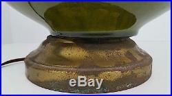 Vtg Mid Century Modern Ceramic Green Drip Lava Glaze Danish Atomic Lamp Kitsch