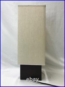 Vtg Mid Century Modern Table Lamp Danish 60s Style Square Wood Base Cube Minimal