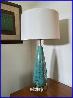 Vtg Mid Century Modern Turquoise & Gold Ceramic Table Lamp 28