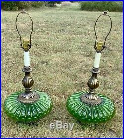 Vtg Mid Century modern Green Glass Brass Metal Table desk Lamps Pair night light