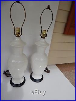 Vtg. Pair (2) Mid Century Modern Tall White Ginger Jar Lamps Hollywood Regency