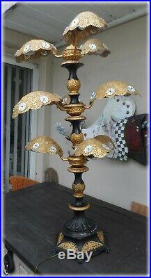 Vtg Pair Art Deco Nouveau Palm Frond Prism Filigree Large Table Lamps Chandelier