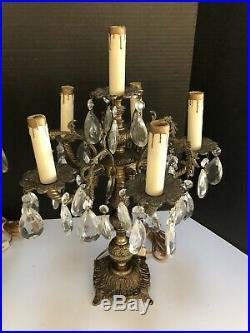 Vtg Pair Brass Crystal Table Chandelier Lamps Hollywood Regency 5 Arm 6 Light