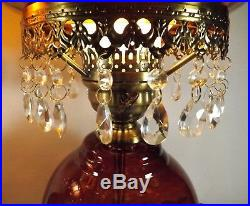 Vtg Pair of Matching Gone With The Wind Lamps Amber Hanging Crystals GWTW Roses