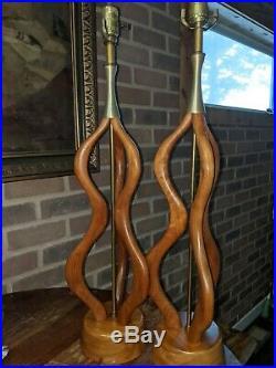 Vtg Set (2) Mid Century Danish Modern Sculptural Teak Wood and Brass Table Lamp