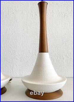 Vtg Table Lamp Teak White Ceramic Textured MCM Genie Mid Century Danish Modern