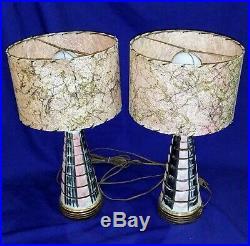 Vtg Table Lamps 50s Mid-Century Modern PINK BLACK FIBERGLASS SHADES ATOMIC Retro