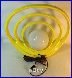 Vtg Yellow POP OP Art Ceramic Lamp Modernist Hoop Halo Cosmic Globe