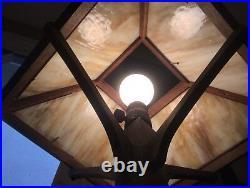 W. B. Brown Co. Mission Oak Wood Slag Glass Panel Table Lamp Arts & Crafts Era