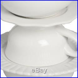 White Linen Ceramic Tea Party Cup Teapot Vintage Style Table Light Lamp