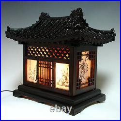 Wooden Art Shade Lantern Bedside Home Deco Oriental Asian House Table Lamp Light