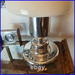 XXL Vintage DORIA Tischlampe 70er Jahre Milchglas Aluminium Large Table Lamp